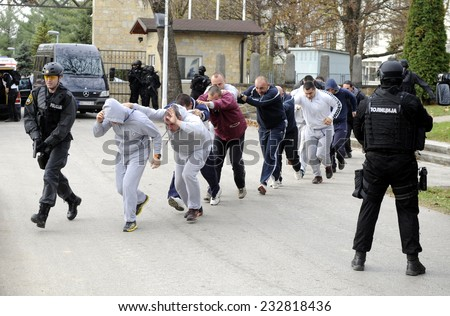 BATAJNICA, SERBIA - CIRCA NOVEMBER 2014: Special force police practices release of hostages at joined exercise, circa November 2014 in Batajnica