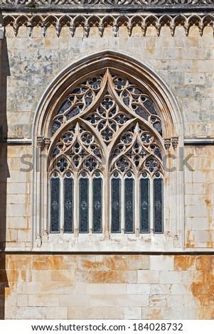 Batalha Monastery. Tracery Gothic window in Capela do Fundador (Founders Chapel). Portugal. UNESCO World Heritage Site. - stock photo