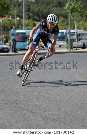 BATALHA, PORTUGAL - JUNE 10: Diogo Silva participate in the event of the 4th Grand Prix cycling of the municipality of Battle 2011 on June 10, 2011 in Batalha, Portugal. - stock photo