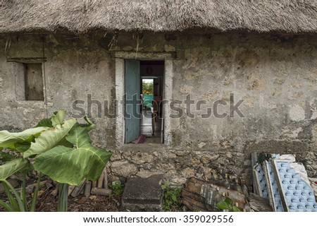 Batanes, Phillipines-March 26, 2015:Historical and colonial house in Batanes Island. Majority people in the island are Ivatan Ethnic.