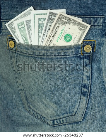 Batch dollars in hip-pocket on blue jeans