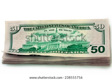 Batch of fifty-dollar banknotes - stock photo