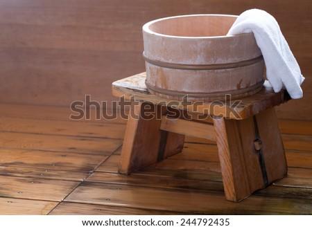 Bath Bucket Towel On Wooden Stool Stock Photo (Edit Now) 244792435 ...