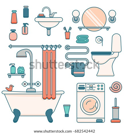bath equipment icons made in modern line style colorful clip art illustration for bathroom interior