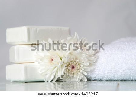 Bath items in white. - stock photo