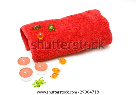 Bath products on a white background