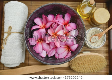 bath relaxation and body treatment  - stock photo