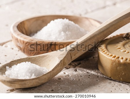 bath salt and soap for pure hydration - stock photo