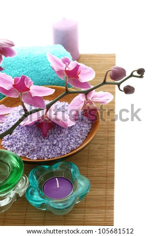 bath salt, candle and orchid flowers - stock photo