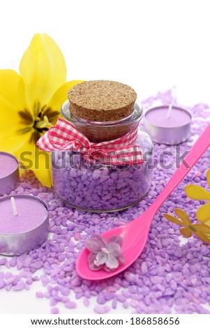 bath salt, candles and  flowers - stock photo