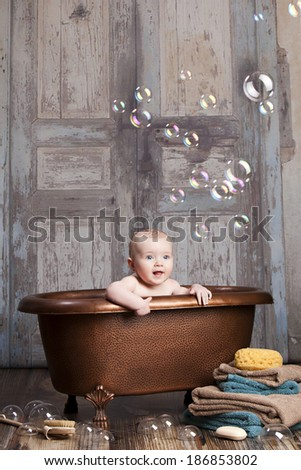 Bath time fun!  Room for your text. - stock photo