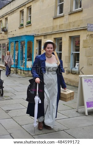BATH, UK -11 SEP 2016- People costumed in the streets of Bath, Somerset, for the annual Jane Austen festival.