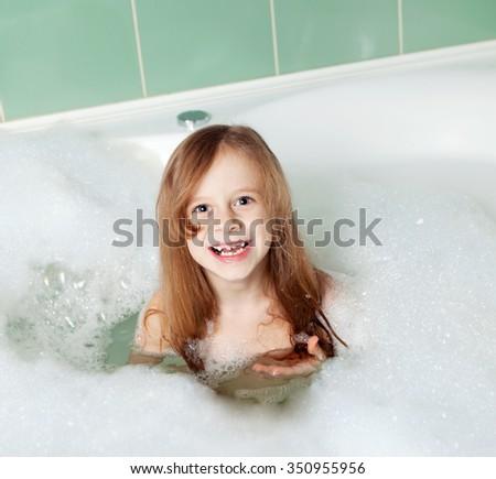 bath with foam - stock photo