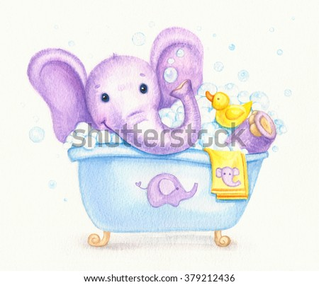 Bathing baby elephant , watercolor. - stock photo