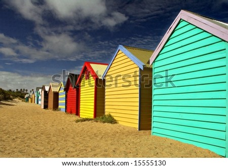 Bathing Boxes at Brighton Beach - stock photo