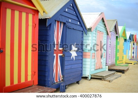 Bathing boxes on Brighton beach in Melbourne, Australia  - stock photo