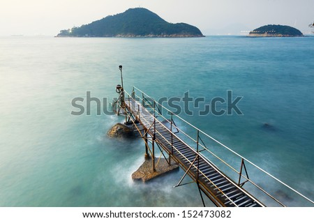 Bathing pavilion , famous place in hongkong - stock photo