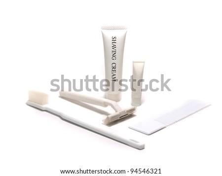Bathroom accessories on white background - stock photo