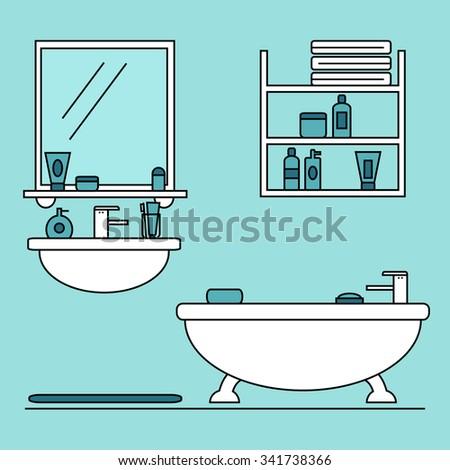 bathroom furniture cozy blue bathroom interior stock vector