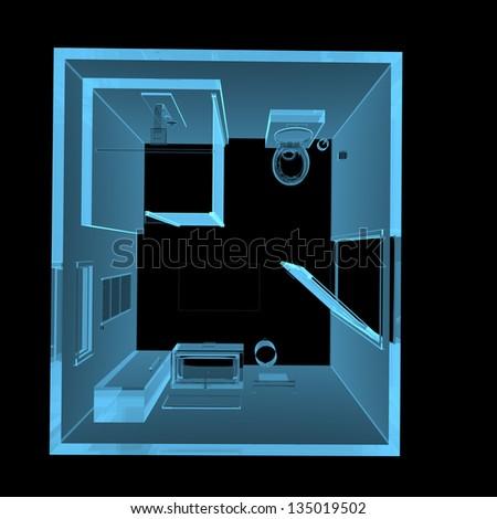 Bathroom (3D xray blue transparent isolated on black background) - stock photo