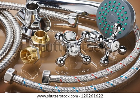 bathroom fixtures and fittings are of different construction - stock photo