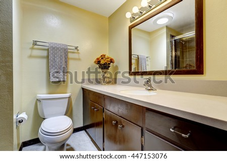 Bathroom in brown color with beige walls. Modern wooden cabinet with granite top and mirror