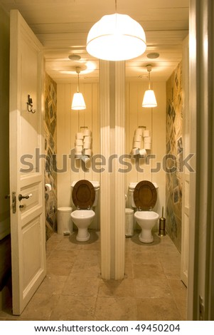 Bathroom Public Place Two Toilets Stock Photo 49450204 ...