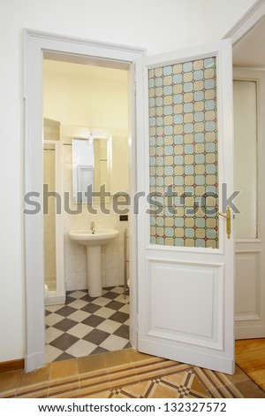 Bathroom in small new apartment - stock photo