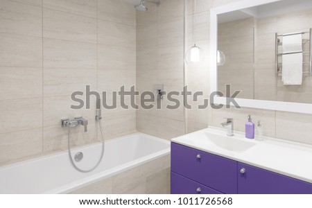 Bathroom Interior. Bathroom Mirror With A Stand Mirror Table In Colors Of  The Year 2018