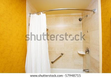 Bathroom interior - Bathtub and white curtain - stock photo