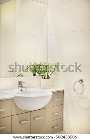 Modern bathroom shower area bath tub stock photo 450627787 shutterstock - Excellent bathroom plants for fresh interior ...