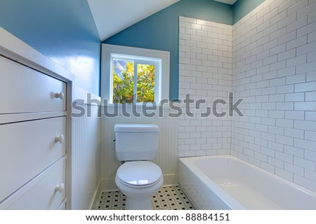 Bathroom interior design blue and white. - stock photo