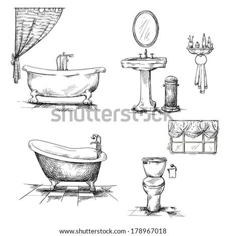 Bathroom Interior Elements Hand Drawn Bathtub Stock Illustration