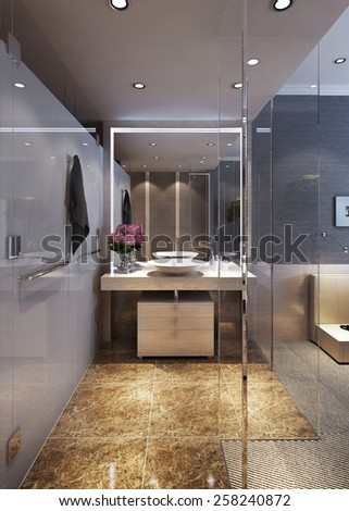 Bathroom interior, in guest room. 3d images - stock photo