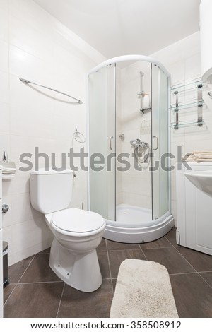 Bathroom interior with shower cabin