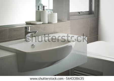 Bathroom interior sink faucet stock photo 564338635 shutterstock - Lavish white and grey kitchen for hygienic and bright view ...