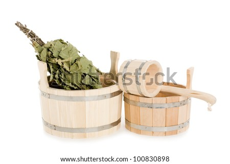 Bathroom items of traditional Russian bath made of wood.