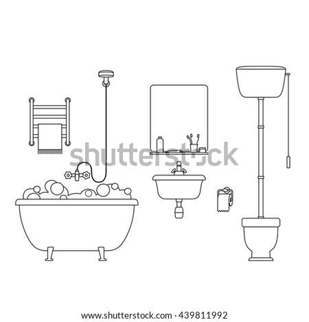 Bathroom Interior Outline Design Vector Illustration Stock ...
