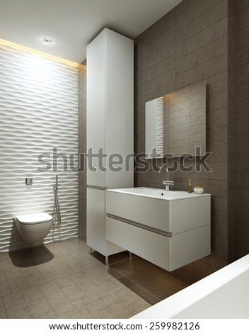 Bathroom modern style, 3d images