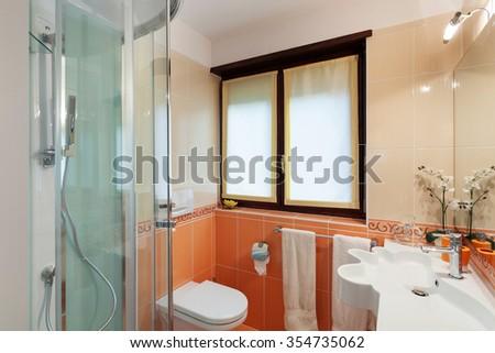 Bathroom of a modern apartment, closeup shower - stock photo