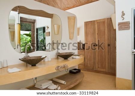 bathroom of the oriental spa hotel - stock photo