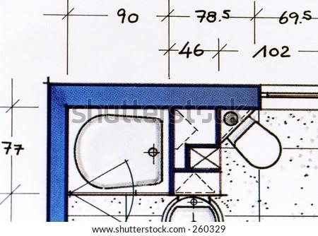 Bathroom plans - stock photo