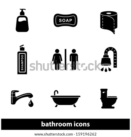 Bathroom / Restroom Icon Set. Raster version. - stock photo
