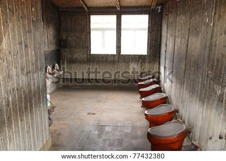 Bathroom, Sachsenhausen-Oranienburg, Nazi concentration camp in Oranienburg, Germany - stock photo