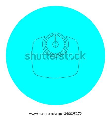 Bathroom scale. Black outline flat symbol on blue circle. Simple illustration pictograh on white background - stock photo
