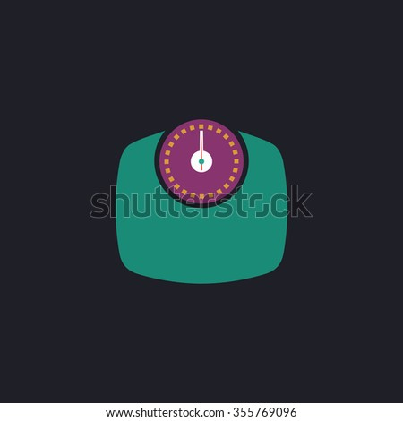 Bathroom scale. Color flat icon on black background - stock photo