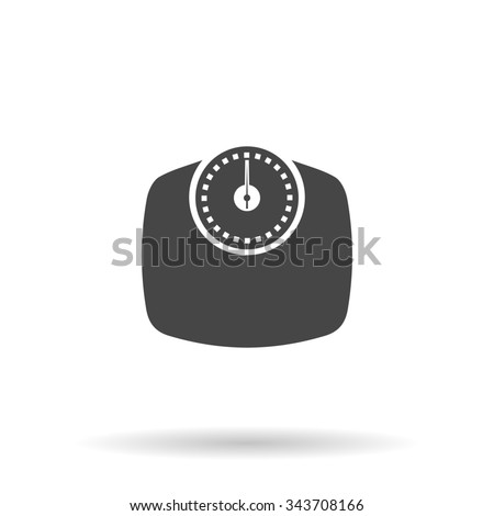 Bathroom scale. Flat icon on grey background with shadow - stock photo
