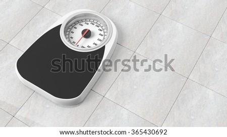 Bathroom scale in pounds, on bathroom floor - stock photo