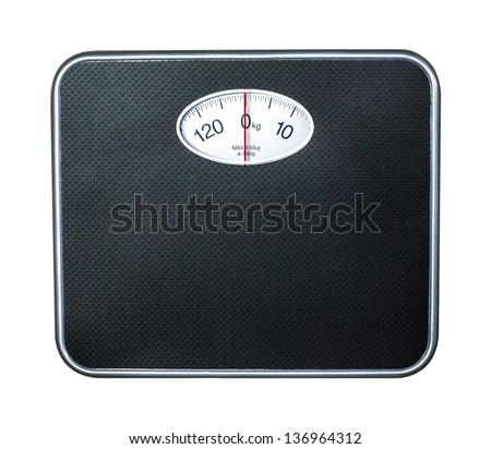 bathroom scale on white background - stock photo