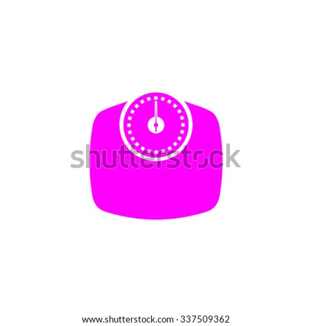 Bathroom scale. Pink icon on white background. Flat pictograph - stock photo